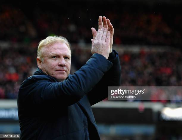 Alex McLeish of Nottingham Forest is presented to the fans prior to the npower Championship match between Nottingham Forest and Crystal Palace at...