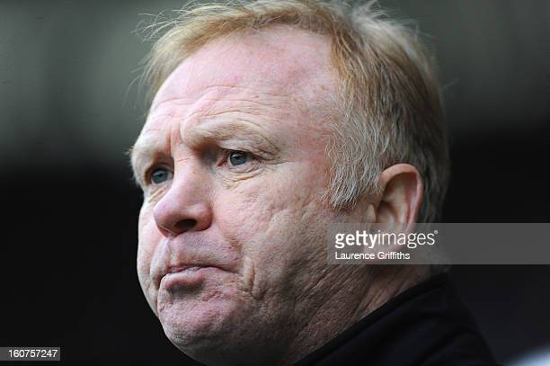 Alex McLeish of Nottingham Forest looks on during the npower Championship match between Derby County and Nottingham Forest at Pride Park Stadium on...