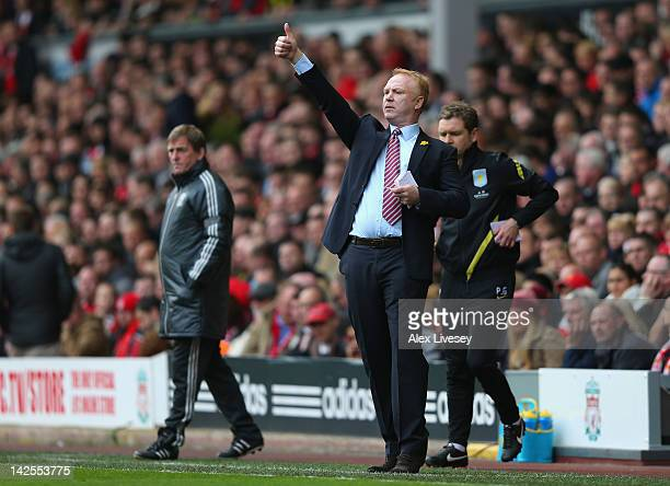 Alex McLeish the manager of Aston Villa gives the thumbs up during the Barclays Premier League match between Liverpool and Aston Villa at Anfield on...