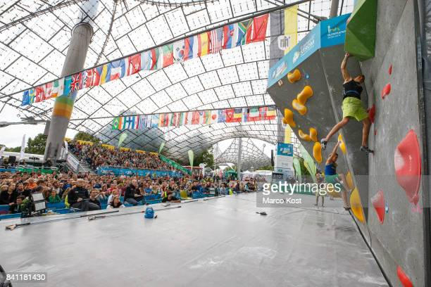 Alex Megos of Germany competes during semi finals of the IFSC Climbing World Cup Munich on August 19 2017 in Munich Germany