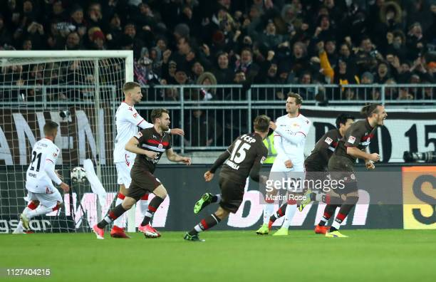 Alex Meier of FC St. Pauli celebrates after scoring from the penalty spot to win the the Second Bundesliga match between FC St. Pauli and 1. FC Union...