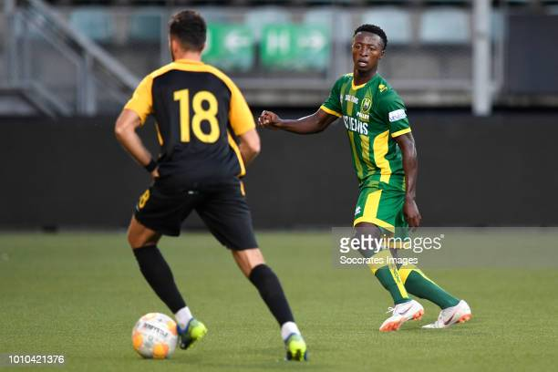 Alex Menendez of Aris Thessaloniki Robin Polley of ADO Den Haag during the Club Friendly match between ADO Den Haag v Aris Saloniki at the Cars Jeans...