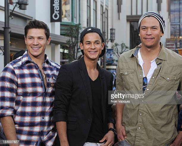 Alex Meraz Bronson Pelletier and Chaske Spencer of the Wolfpack visit Extra at The Grove on November 15 2011 in Los Angeles California
