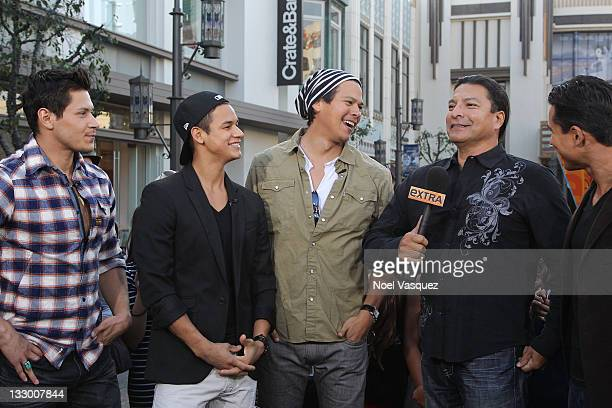 Alex Meraz Bronson Pelletier Chaske Spencer and Gil Birmingham of the Wolfpack visit Extra at The Grove on November 15 2011 in Los Angeles California