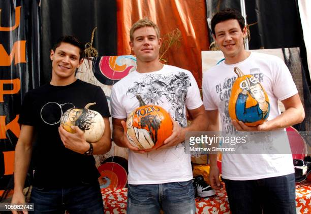 Alex Meraz Trevor Donovan and Cory Monteith hangs out with the kids from The Boys and Girls club at Shawn's Pumpkin Patch on October 23 2010 in...