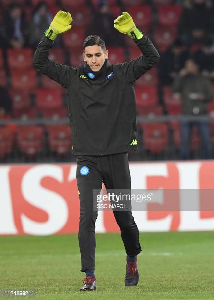 Alex Meret ahead of the UEFA Europa League Round of 32 First Leg match between FC Zurich and SSC Napoli at Letzigrund on February 14 2019 in Zurich...