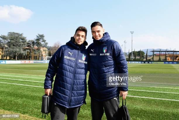 Alex Meret and Alberto Grassi of Italy pose for a photo after a training session at Italy club's training ground at Coverciano on February 27 2018 in...