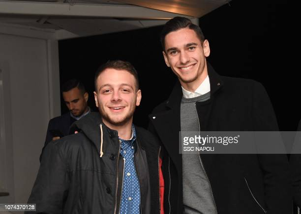 Alex Meret and Anastasio attend the SSC Napoli Xmas Dinner on December 18 2018 in Naples Italy