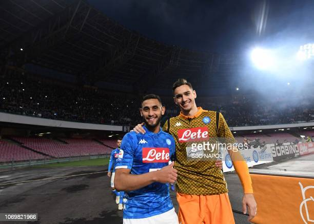 Alex Meret and Fausi Ghoulam of SSC Napoli celebrate after the Serie A match between SSC Napoli and Frosinone Calcio at Stadio San Paolo on December...