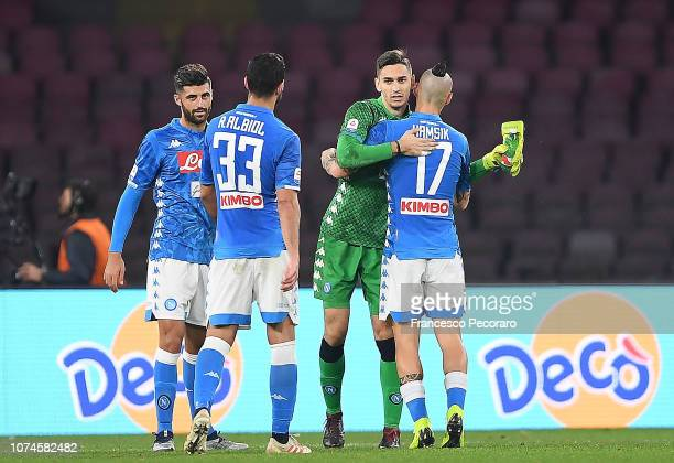 Alex Meret and Marek Hamsik players of SSC Napoli celebrate the victory after the Serie A match between SSC Napoli and Spal at Stadio San Paolo on...