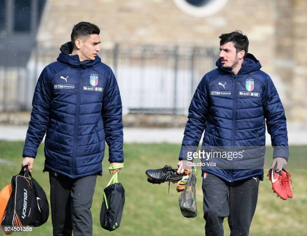 Alex Meret and Simone Scuffet of Italy chat during a training session at Italy club's training ground at Coverciano at Coverciano on February 26 2018...