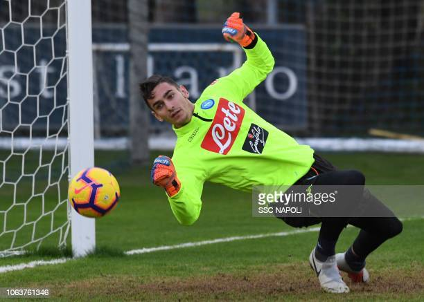 Alex Meret during an SSC Napoli training session on November 20 2018 in Naples Italy