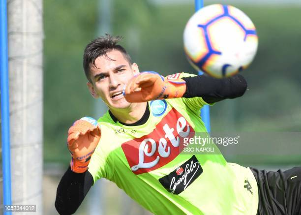 Alex Meret during an SSC Napoli training session on October 17 2018 in Naples Italy