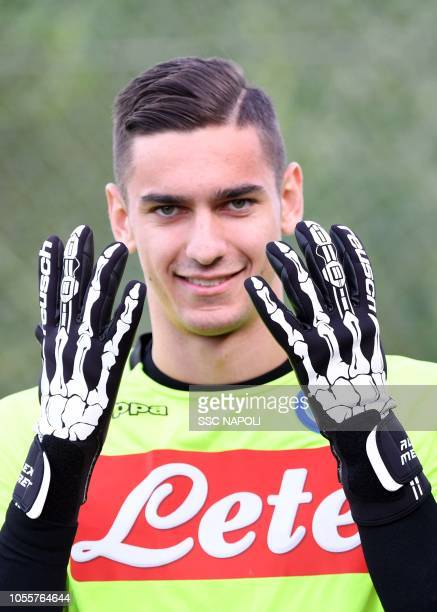 Alex Meret during an SSC Napoli training session on October 31 2018 in Naples Italy