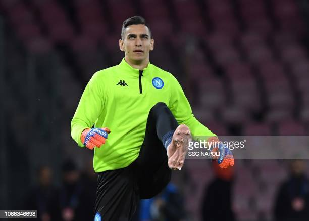 Alex Meret during the Group C match of the UEFA Champions League between SSC Napoli and Red Star Belgrade at Stadio San Paolo on November 28 2018 in...