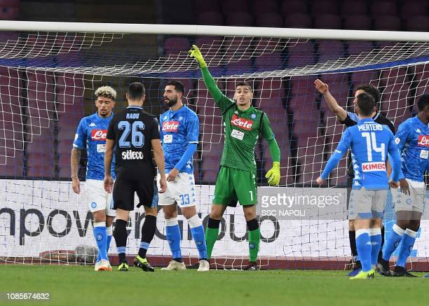Alex Meret during the Serie A match between SSC Napoli and SS Lazio at Stadio San Paolo on January 20 2019 in Naples Italy