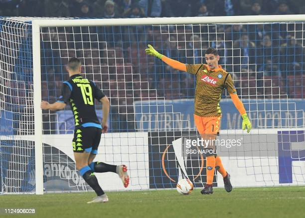 Alex Meret during the UEFA Europa League Round of 32 First Leg match between FC Zurich and SSC Napoli at Letzigrund on February 14 2019 in Zurich...