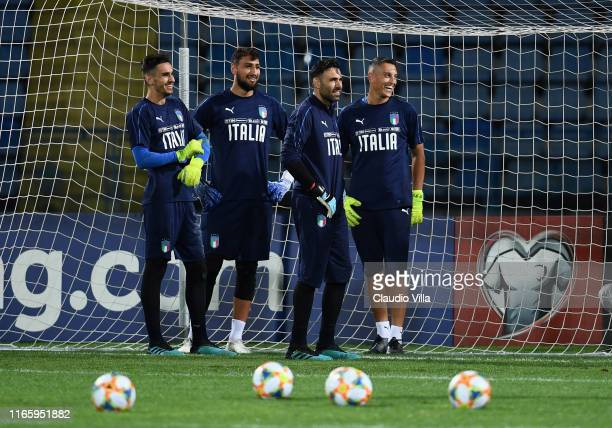 Alex Meret Gianluigi Donnarumma Salvatore Sirigu and Pierluigi Gollini of Italy look on during Italy training session on September 4 2019 in Yerevan...