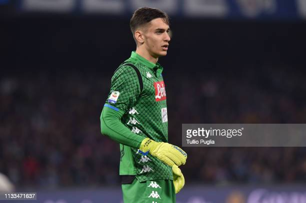 Alex Meret goalkeeper of Napoli looks on during the Serie A match between SSC Napoli and Juventus at Stadio San Paolo on March 03 2019 in Naples Italy