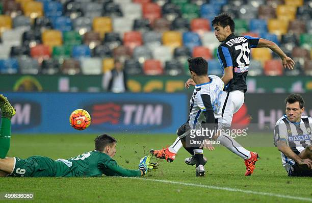 Alex Meret goalkeeper saves a shot from Marcelo Estigarribia of Atalanta BCduring the TIM Cup match between Udinese Calcio and Atalanta BC at Stadio...