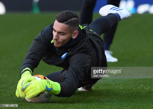 Alex Meret makes a save during an SSC Napoli Training Session And Press Conference on April 10 2019 in London United Kingdom