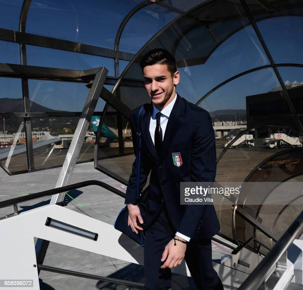 Alex Meret of Italy departs for Amsterdam on March 27 2017 in Florence Italy