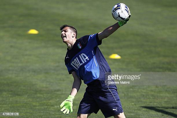 Alex Meret of Italy during a training session during an Italy training session at Coverciano on June 2 2015 in Florence Italy