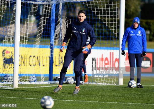Alex Meret of Italy in action during a training session at Italy club's training ground at Coverciano at Coverciano on February 26 2018 in Florence...