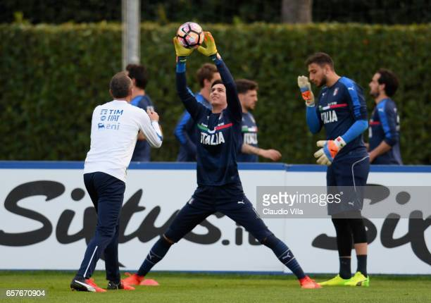 Alex Meret of Italy in action during the training session at the club's training ground at Coverciano on March 25 2017 in Florence Italy