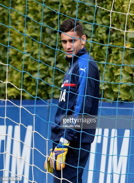 Alex Meret of Italy looks on during the training session at the club's training ground at Coverciano on March 23 2017 in Florence Italy