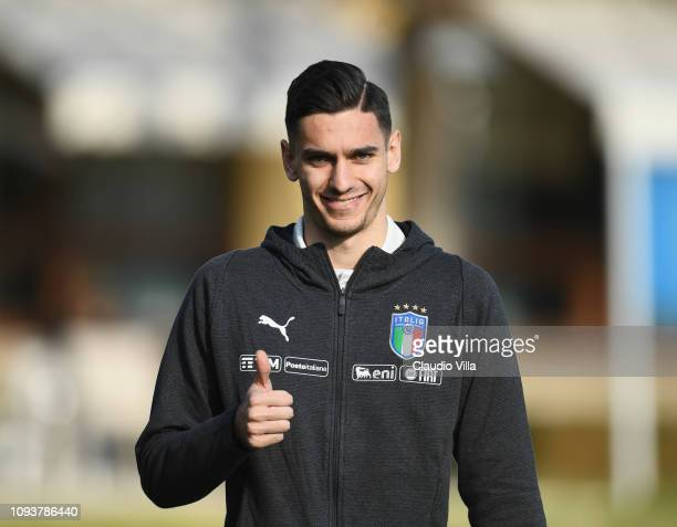 Alex Meret of Italy reacts during a training session at Centro Tecnico Federale di Coverciano on February 4 2019 in Florence Italy