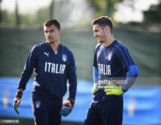 Alex Meret of Italy smiles during a Italy training session at Casteldebole Training Center on June 18 2019 in Bologna Italy