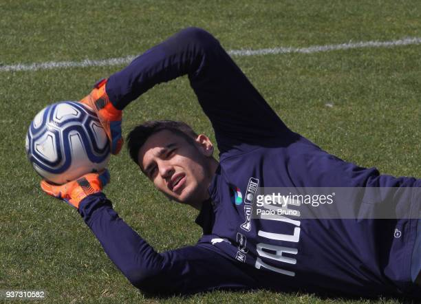 Alex Meret of Italy U21 in action during the Italy U21 training session on March 24 2018 in Rome Italy