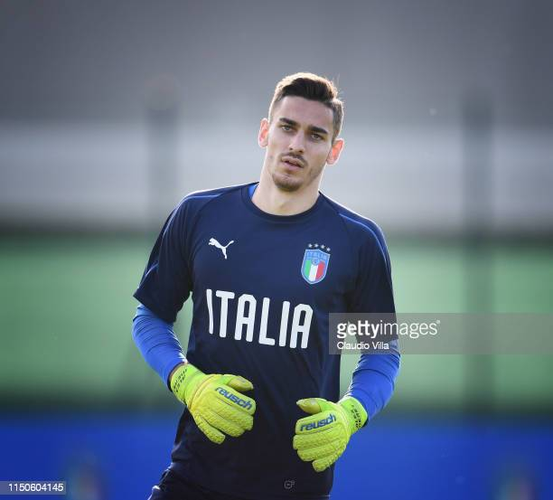 Alex Meret of Italy warms up during a Italy training session at Casteldebole Training Center on June 18 2019 in Bologna Italy