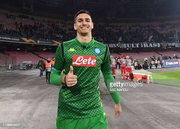 Alex Meret of Napoli celebrates after the UEFA Europa League Round of 32 Second Leg match between SSC Napoli v FC Zurich at Stadio San Paolo on...