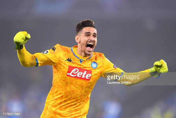 Alex Meret of Napoli celebrates during the UEFA Champions League group E match between SSC Napoli and Liverpool FC at Stadio San Paolo on September...