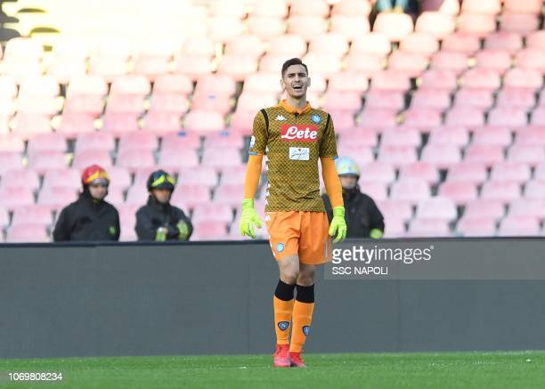 Alex Meret of Napoli during the Serie A match between SSC Napoli and Frosinone Calcio at Stadio San Paolo on December 8 2018 in Naples Italy