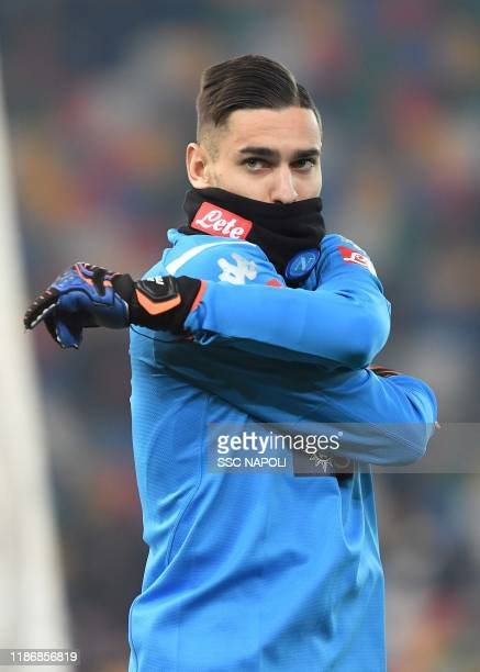 Alex Meret of Napoli during the Serie A match between Udinese Calcio and SSC Napoli at Stadio Friuli on December 7 2019 in Udine Italy