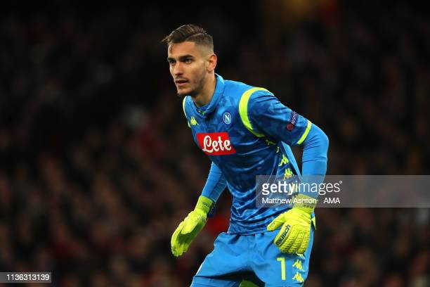 Alex Meret of Napoli in action during the UEFA Europa League Quarter Final First Leg match between Arsenal and SSC Napoli at Emirates Stadium on...