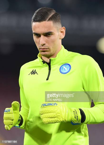 Alex Meret of Napoli looks on prior the UEFA Europa League Quarter Final Second Leg match between SSC Napoli and Arsenal at Stadio San Paolo on April...