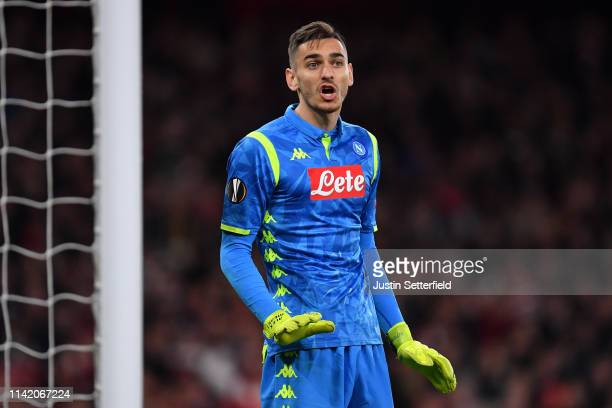 Alex Meret of Napoli reacts during the UEFA Europa League Quarter Final First Leg match between Arsenal and SSC Napoli at Emirates Stadium on April...
