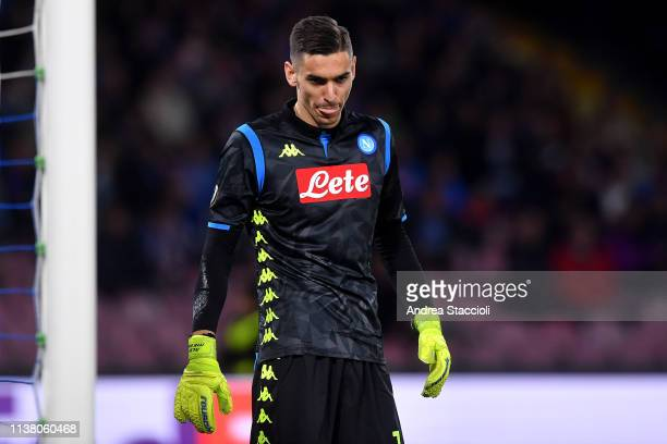 Alex Meret of Napoli reacts during the Uefa Europa League quarterfinals second leg match between SSC Napoli and Arsenal Football Club Arsenal FC won...