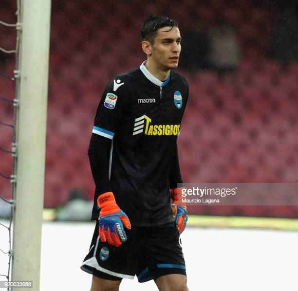 Alex Meret of Spal during the serie A match between SSC Napoli and Spal at Stadio San Paolo on February 18 2018 in Naples Italy