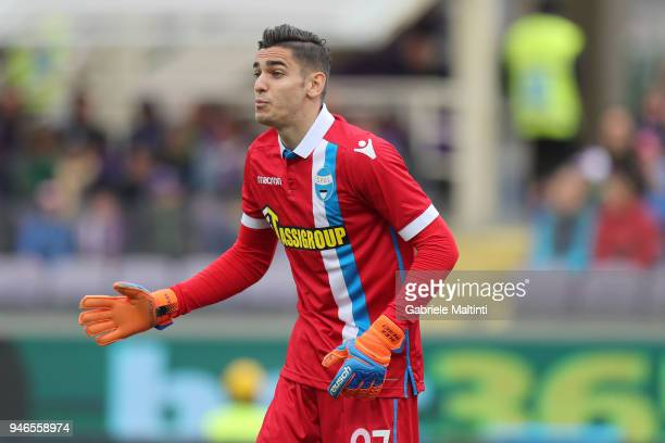Alex Meret of Spal in action during the serie A match between ACF Fiorentina and Spal at Stadio Artemio Franchi on April 15 2018 in Florence Italy