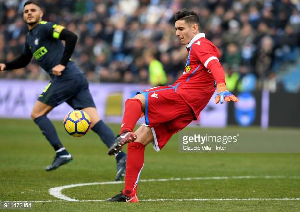 Alex Meret of Spal in action during the serie A match between Spal and FC Internazionale at Stadio Paolo Mazza on January 28 2018 in Ferrara Italy