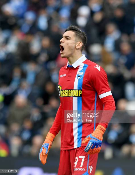 Alex Meret of Spal reacts during the serie A match between Spal and FC Internazionale at Stadio Paolo Mazza on January 28 2018 in Ferrara Italy