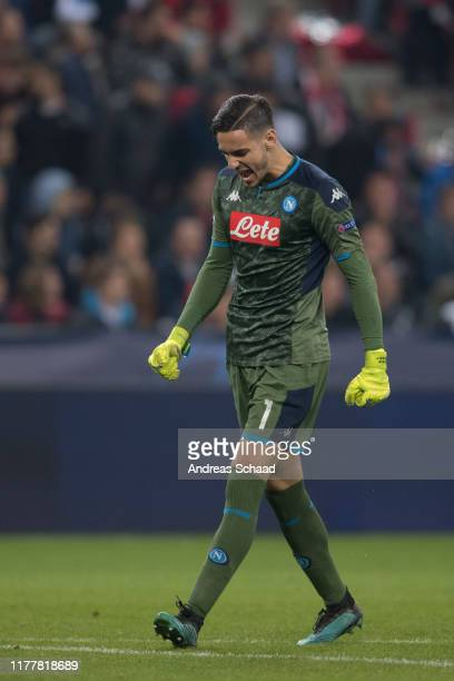 Alex Meret of SSC Napoli celebrates during the champions league group E match between FC Salzburg and SSC Napoli at Salzburg Stadion on October 23,...