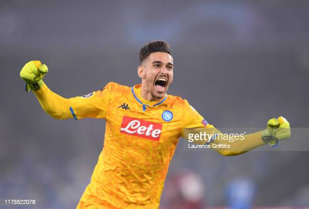 Alex Meret of SSC Napoli celebrates his sides second goal during the UEFA Champions League group E match between SSC Napoli and Liverpool FC at...