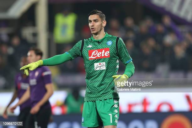 Alex Meret of SSC Napoli during the Serie A match between ACF Fiorentina and SSC Napoli at Stadio Artemio Franchi on February 9 2019 in Florence Italy