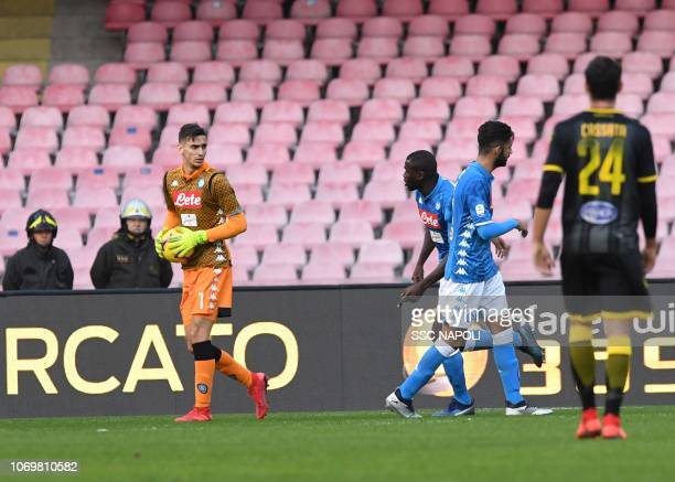 Alex Meret of SSC Napoli during the Serie A match between SSC Napoli and Frosinone Calcio at Stadio San Paolo on December 8 2018 in Naples Italy